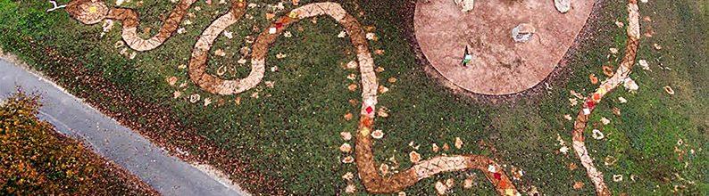Rainbow Serpent ephemeral art installation at The Elders Rock